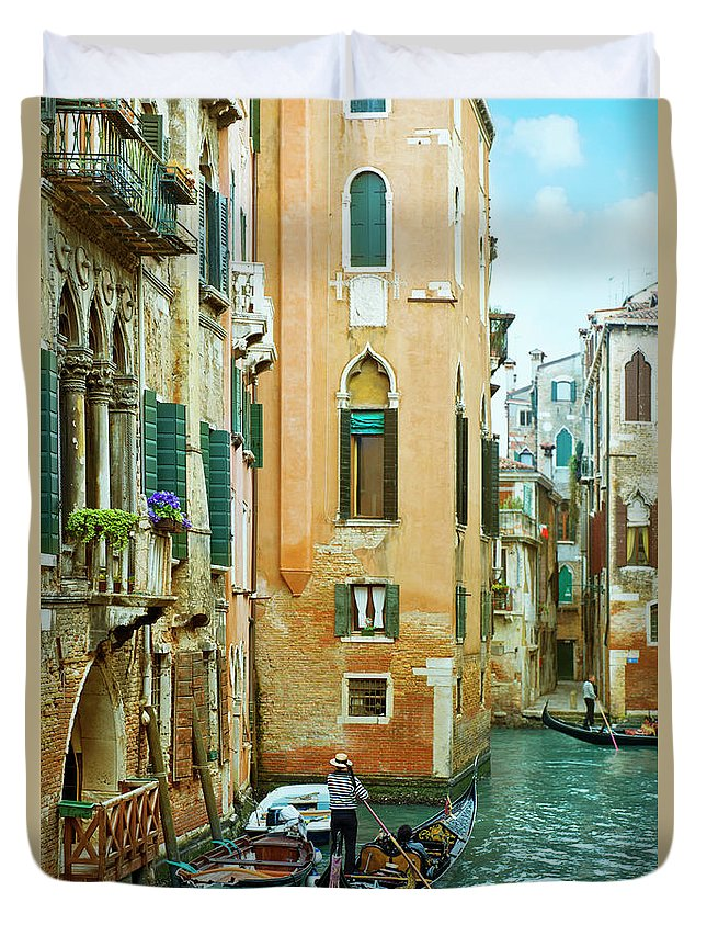 Heterosexual Couple Duvet Cover featuring the photograph Romantic Venice Views From Gondola by Caracterdesign