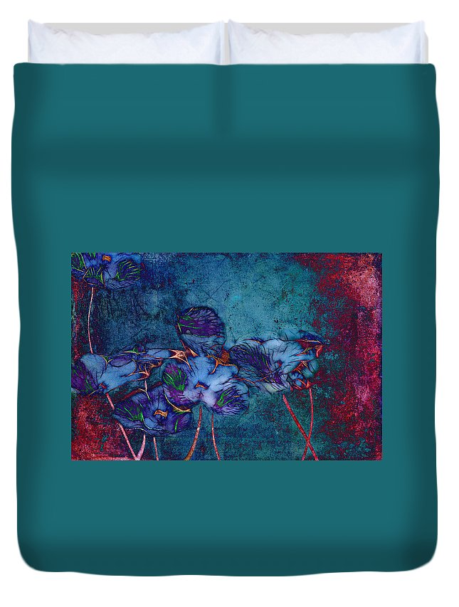 Floral Duvet Cover featuring the digital art Romantiquite - 55at22 by Variance Collections