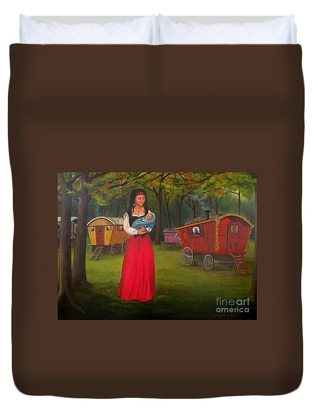 Mother And Child Duvet Cover featuring the painting Romany Mother And Child by Lora Duguay
