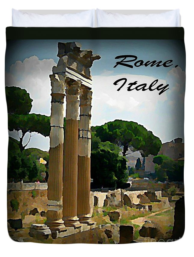 Rome Italy Poster Duvet Cover featuring the painting Rome Italy Poster by John Malone