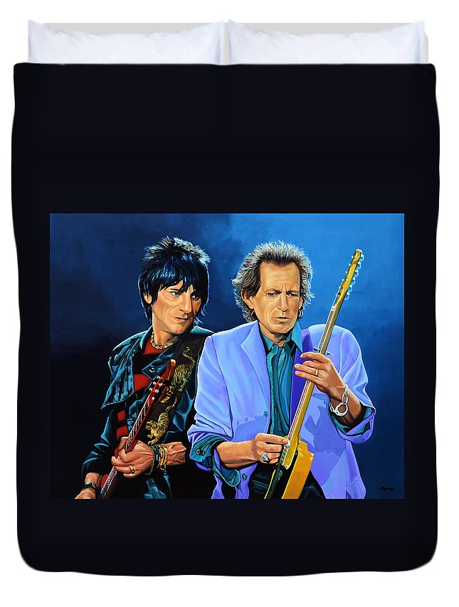 The Rolling Stones Duvet Cover featuring the painting Ron Wood and Keith Richards by Paul Meijering