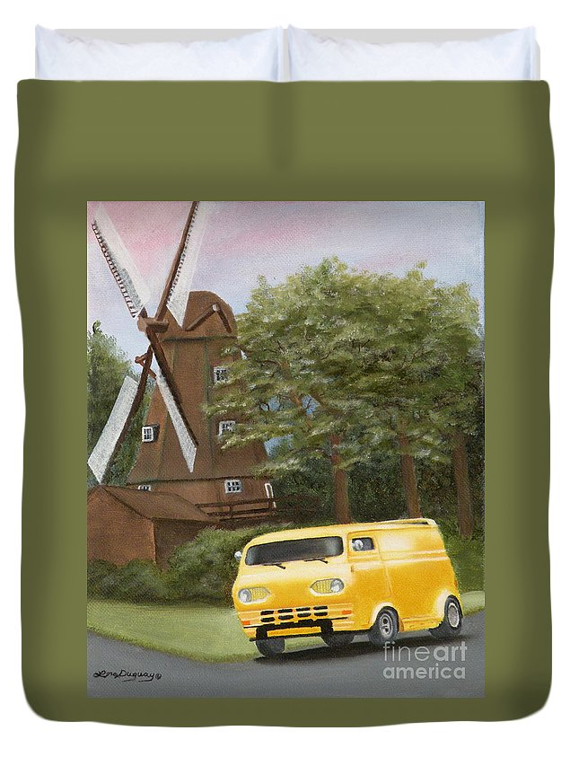 1962 Ford Duvet Cover featuring the painting Ron's 10 Inch Chop by Lora Duguay