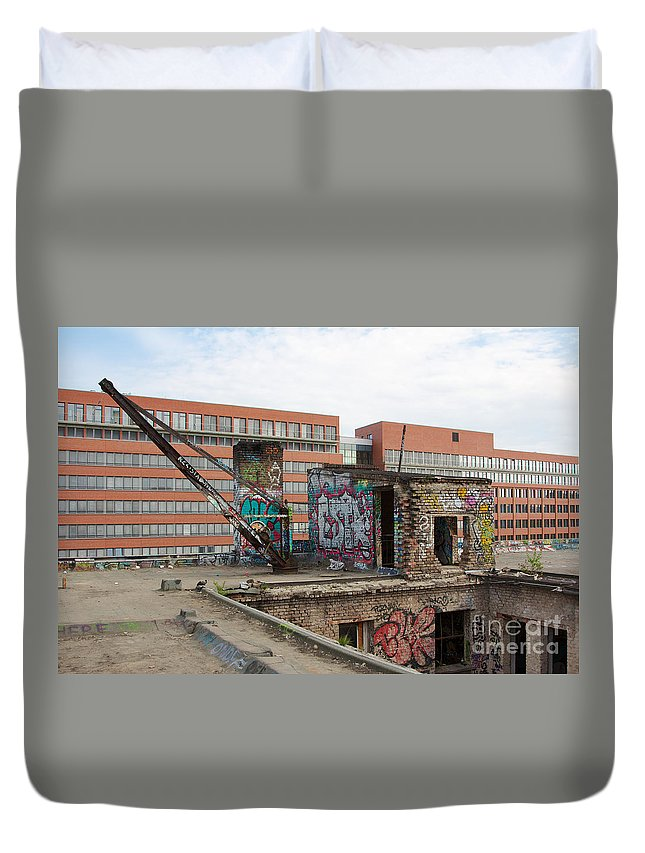 Abandoned Duvet Cover featuring the photograph Roof Of The Alte Eisfabrik Ruin In Berlin by Jannis Werner