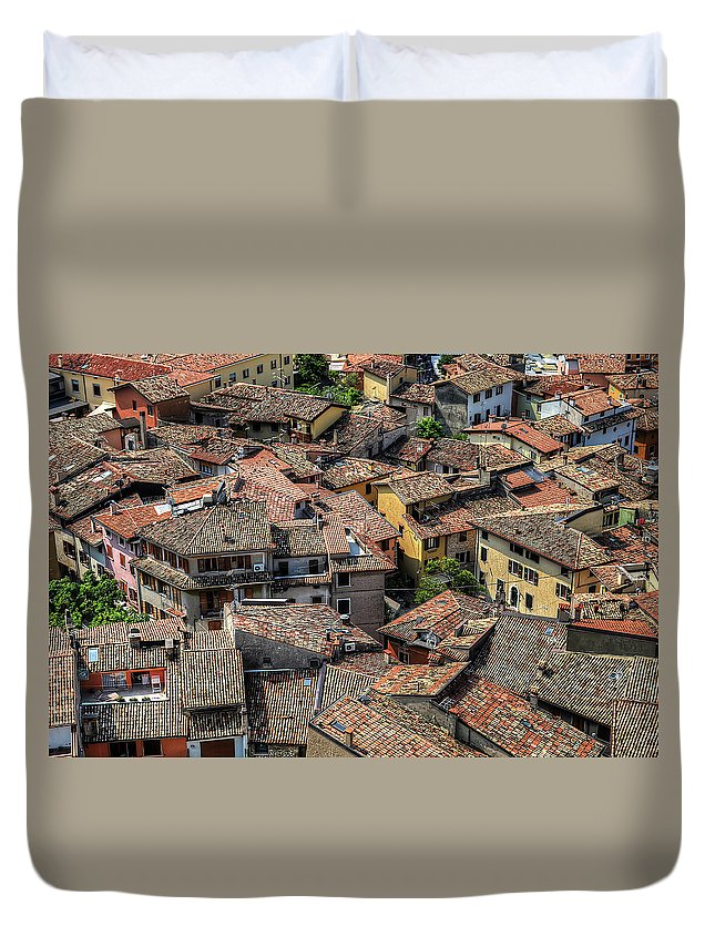 Tranquility Duvet Cover featuring the photograph Roofs by Mento