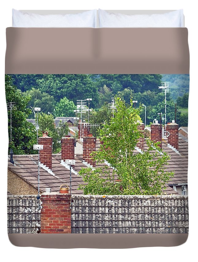 Antennae Duvet Cover featuring the photograph Rooftop Communication by Keith Armstrong