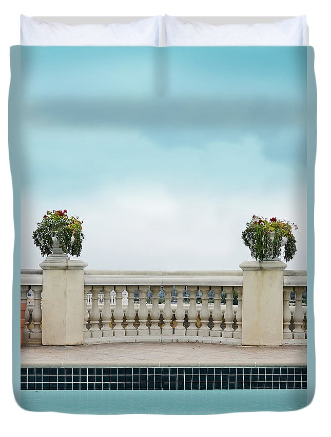 Pool Duvet Cover featuring the photograph Rooftop Pool by Jill Battaglia