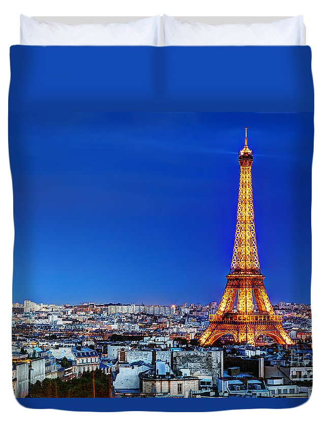 Eiffel Duvet Cover featuring the photograph Rooftop View On The Eiffel Tower by Michal Bednarek