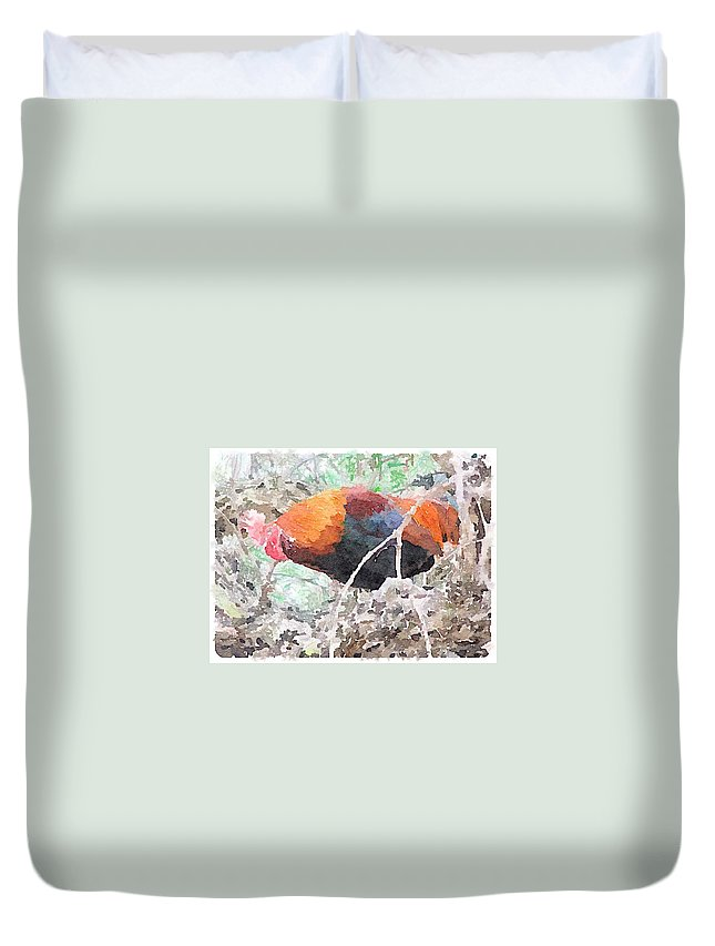 Rooster Duvet Cover featuring the digital art Roost by Shannon Grissom