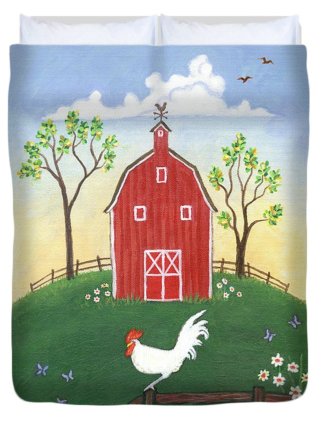 Folk Art Rooster Duvet Cover featuring the painting Rooster Americana by Linda Mears