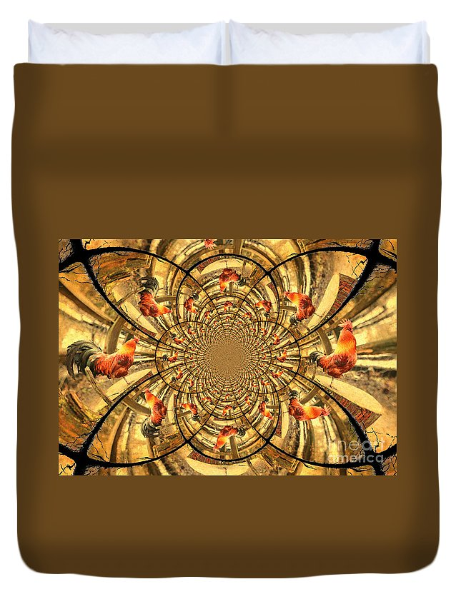 Rooster Duvet Cover featuring the photograph Crowing Rooster Kaleidoscope by Carol Groenen