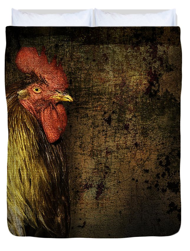 Animal Duvet Cover featuring the mixed media Rooster With Brush Calligraphy Loyalty by Peter v Quenter