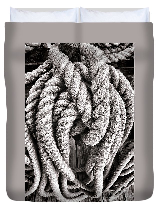 Rope Duvet Cover featuring the photograph Rope by Olivier Le Queinec