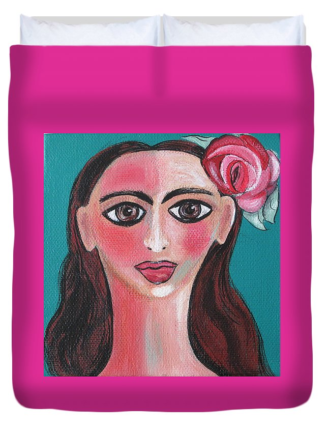 Canvas Duvet Cover featuring the painting Rosa by Sue Wright