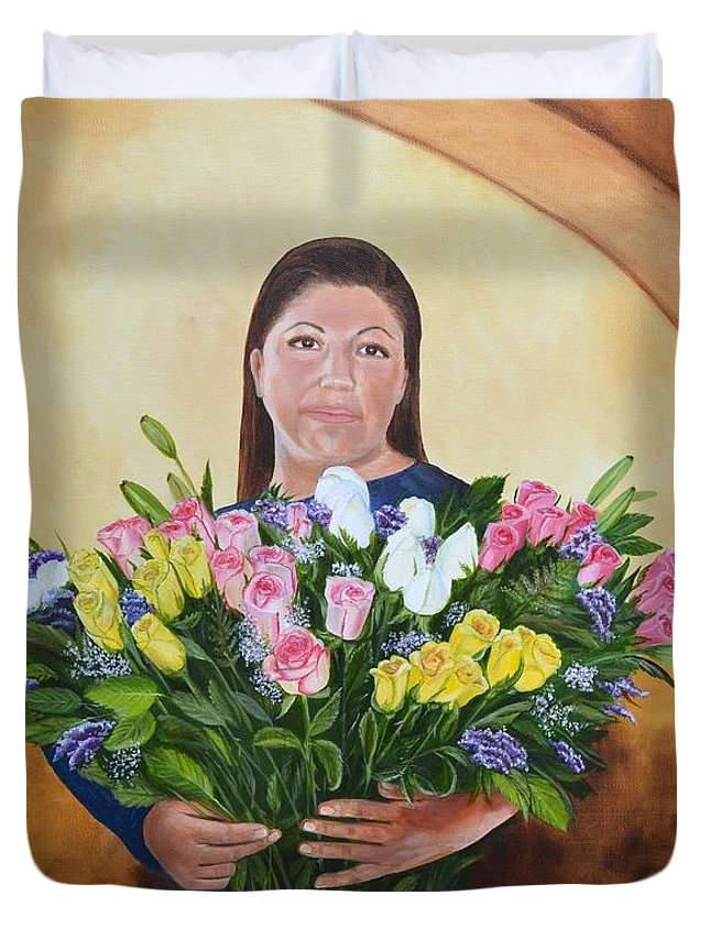 People Duvet Cover featuring the painting Rosa's Roses by Mary Rogers