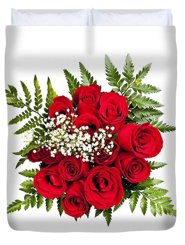 Roses Duvet Cover featuring the photograph Rose Bouquet From Above by Elena Elisseeva
