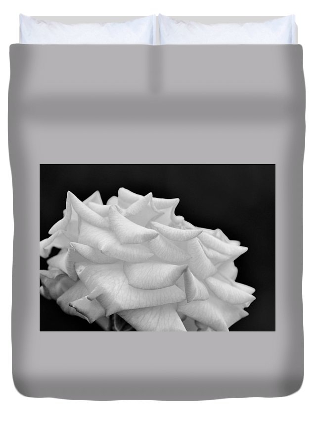 Rose Bw Duvet Cover featuring the photograph Rose Bw by Maria Urso
