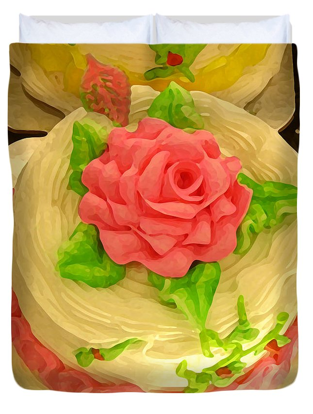 Food Duvet Cover featuring the painting Rose Cakes by Amy Vangsgard