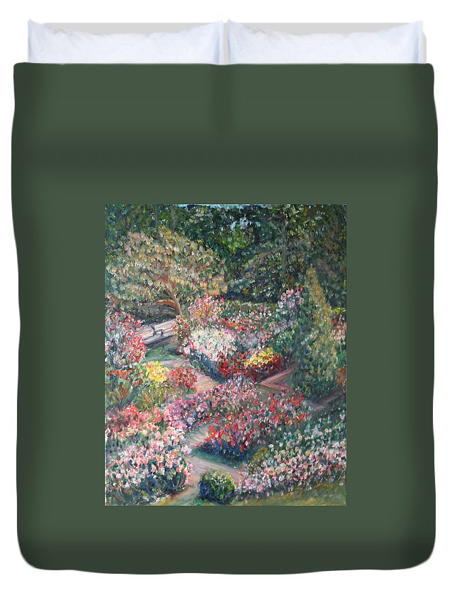 Impressionist Landscape Duvet Cover featuring the painting Rose Garden by Quin Sweetman
