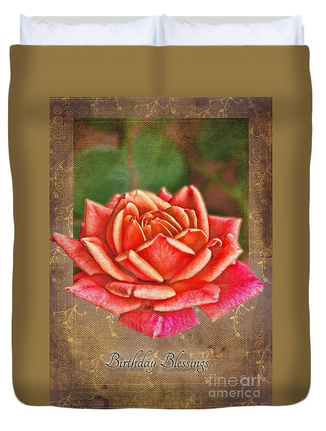 Nature Duvet Cover featuring the photograph Rose Greeting Card Birthday by Debbie Portwood