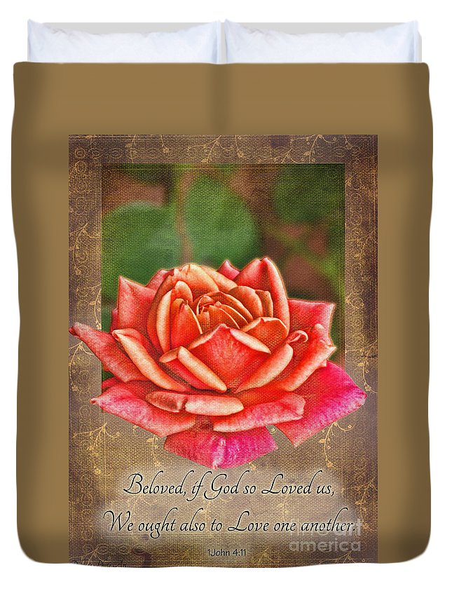 Nature Duvet Cover featuring the photograph Rose Greeting Card With Verse by Debbie Portwood