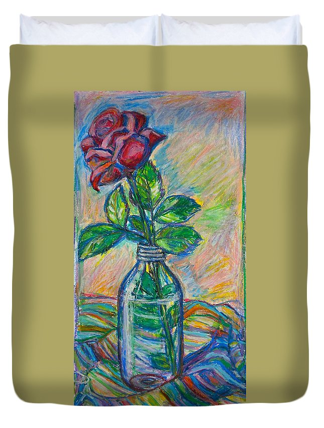 Still Life Duvet Cover featuring the painting Rose In A Bottle by Kendall Kessler