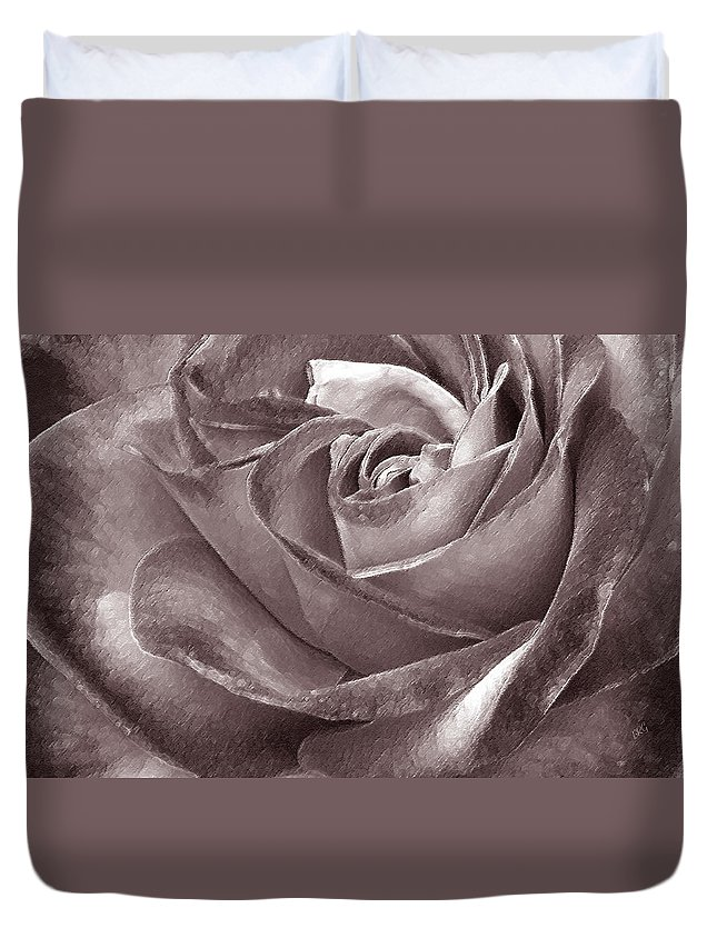 Sepia Rose Duvet Cover featuring the photograph Rose In Black And White by Ben and Raisa Gertsberg