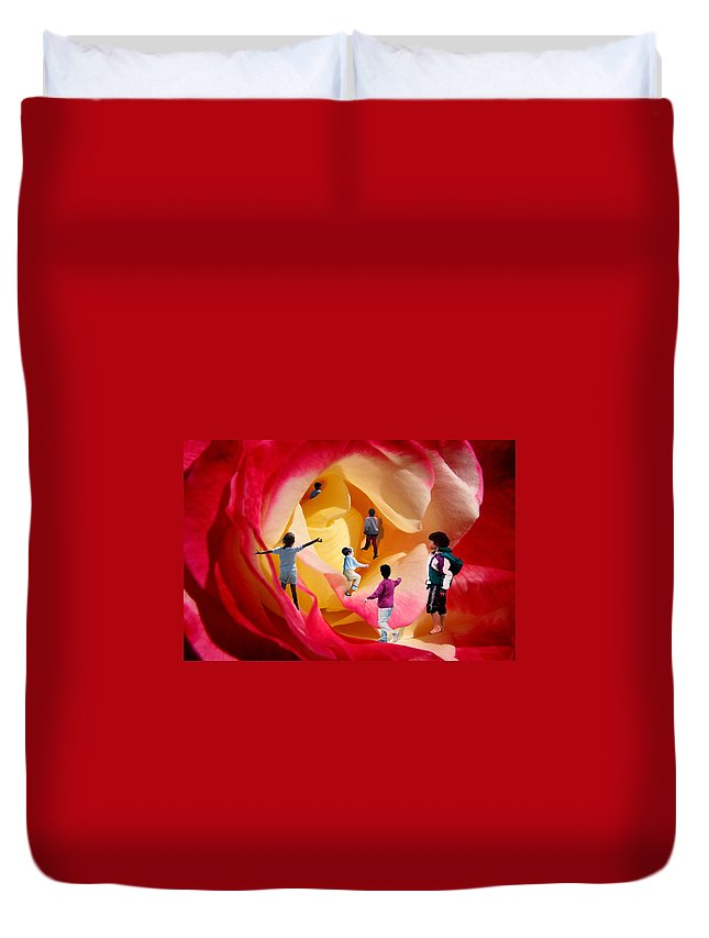 Rose Duvet Cover featuring the digital art Rose Labyrinth by Lisa Yount