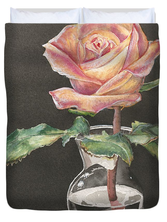Watercolor Duvet Cover featuring the painting Rose Of Hope by Shelly Bilicke