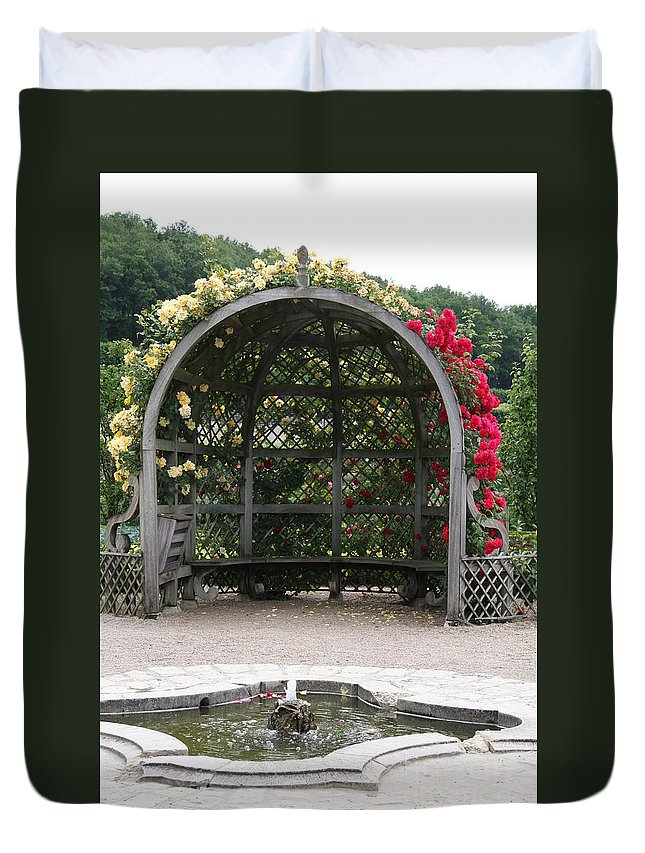 Roses Duvet Cover featuring the photograph Rose Pavilion At Chateau Villandry by Christiane Schulze Art And Photography