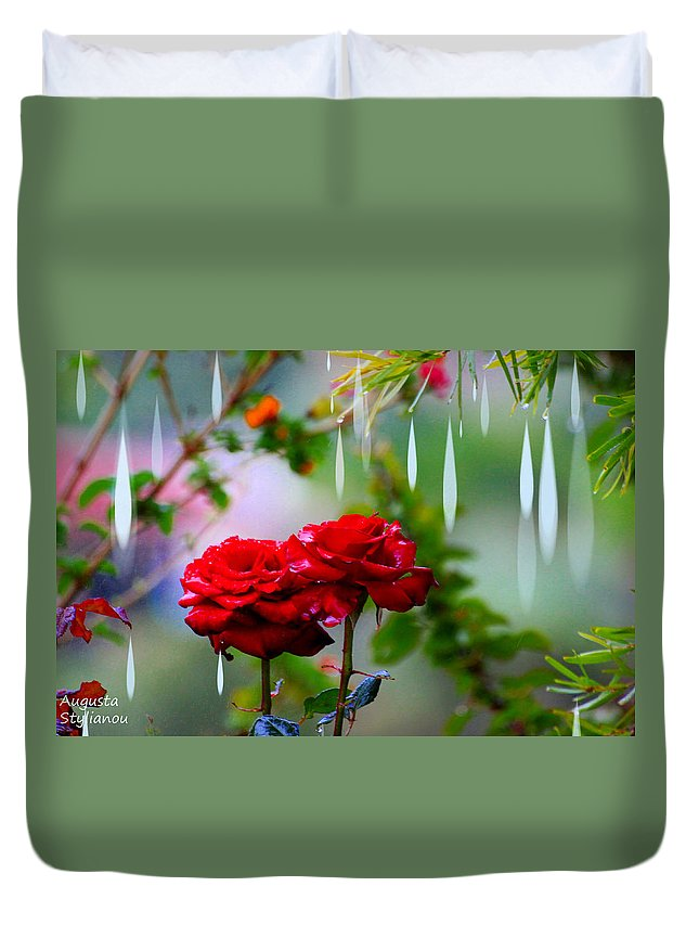 Augusta Stylianou Duvet Cover featuring the digital art Rose Water Drops by Augusta Stylianou