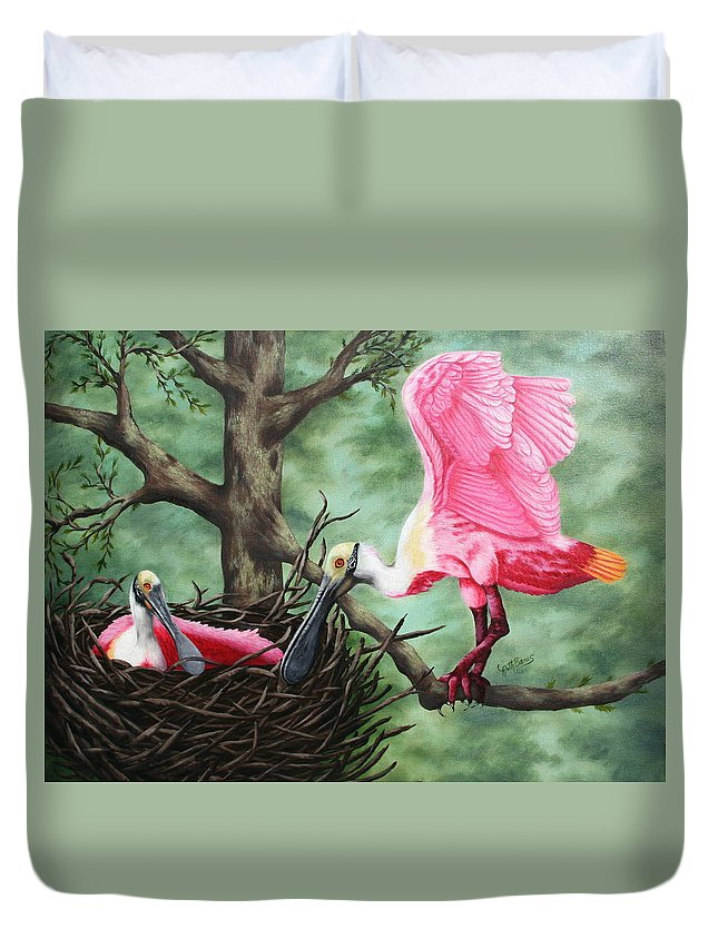 Roseate Spoonbills Duvet Cover featuring the painting Roseate Spoonbill Nesters by Ruth Bares