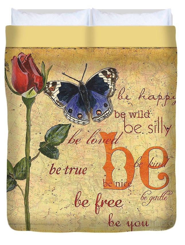 Butterflies Duvet Cover featuring the mixed media Roses and Butterflies 1 by Debbie DeWitt