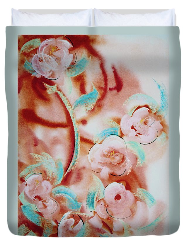 Abstract Painting Duvet Cover featuring the painting Roses And Rust by Asha Carolyn Young