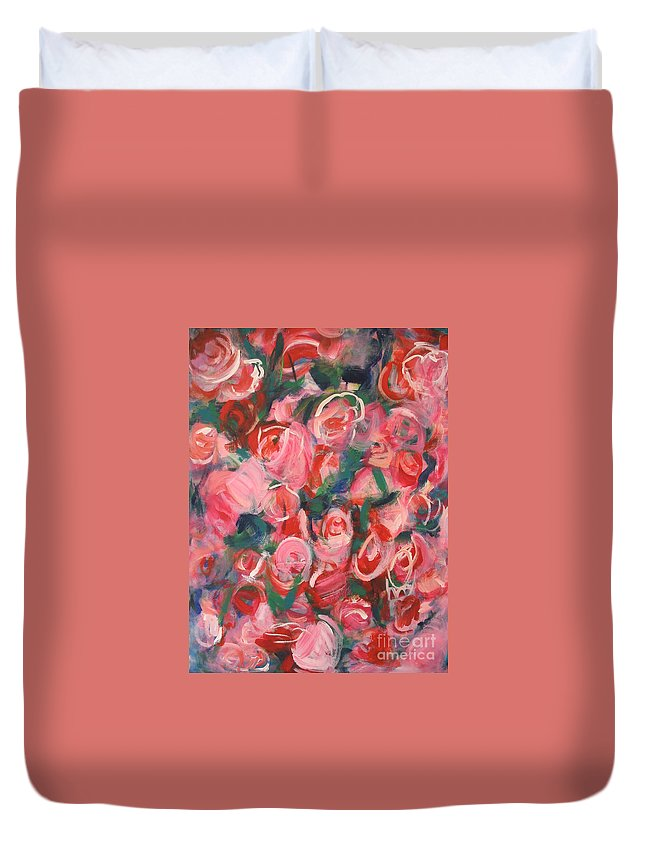 Roses Duvet Cover featuring the painting Roses by Fereshteh Stoecklein