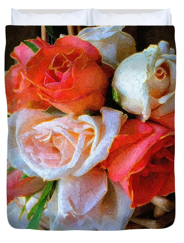 Still Life Duvet Cover featuring the painting Roses Florentine by RC DeWinter