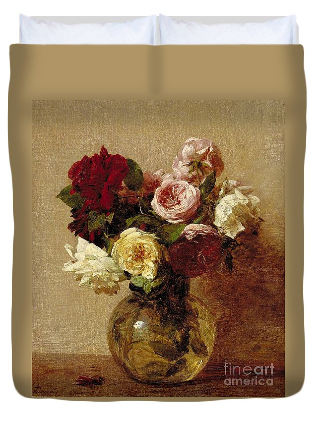 Still-life Duvet Cover featuring the painting Roses by Ignace Henri Jean Fantin-Latour