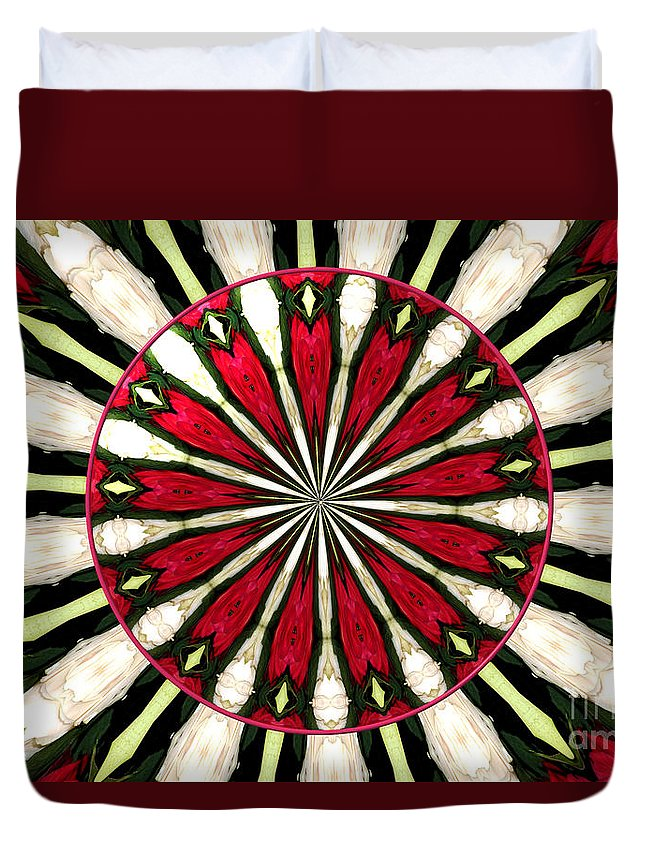 Red Roses Duvet Cover featuring the photograph Roses Kaleidoscope Under Glass 17 by Rose Santuci-Sofranko