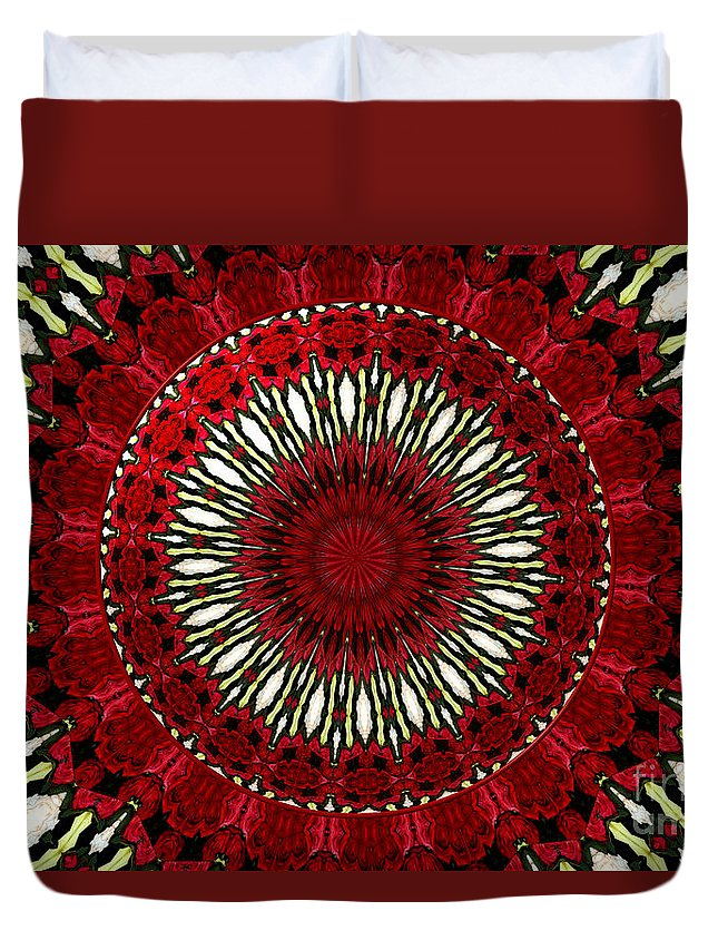 Red Roses Duvet Cover featuring the photograph Roses Kaleidoscope Under Glass 18 by Rose Santuci-Sofranko