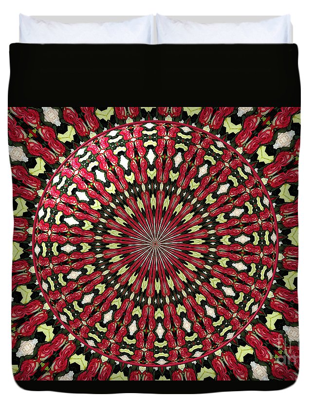 Red Roses Duvet Cover featuring the photograph Roses Kaleidoscope Under Glass 21 by Rose Santuci-Sofranko