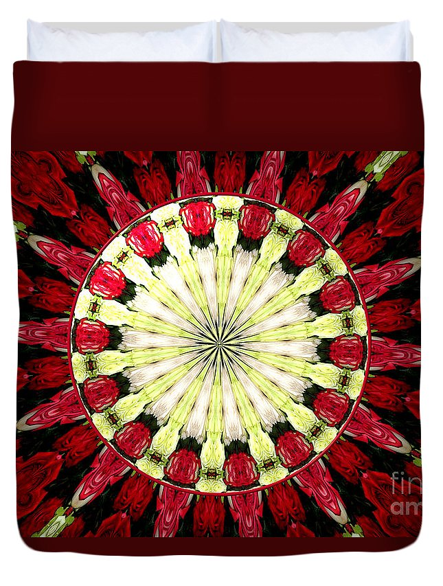 Red Roses Duvet Cover featuring the photograph Roses Kaleidoscope Under Glass 23 by Rose Santuci-Sofranko