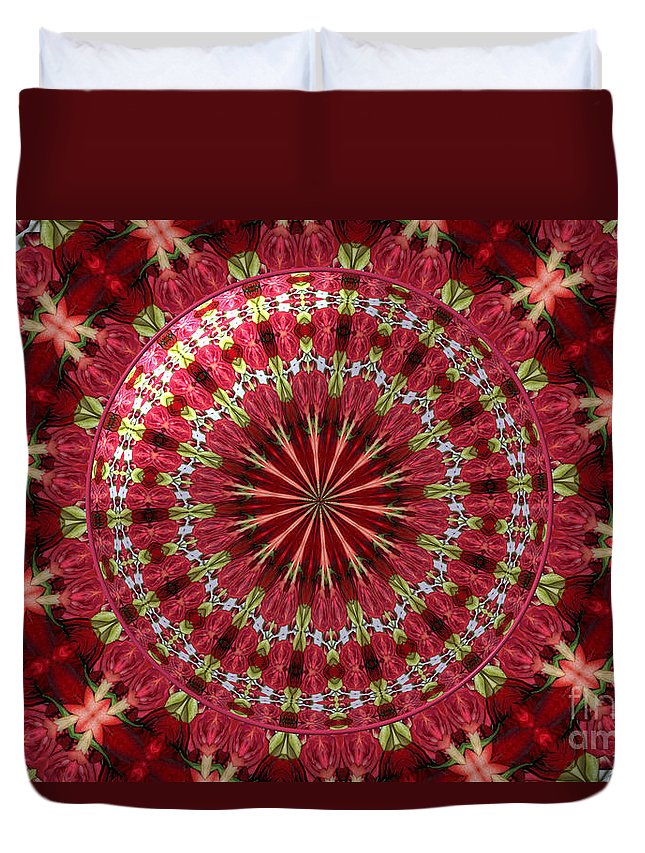 Salmon Roses Duvet Cover featuring the photograph Roses Kaleidoscope Under Glass 30 by Rose Santuci-Sofranko