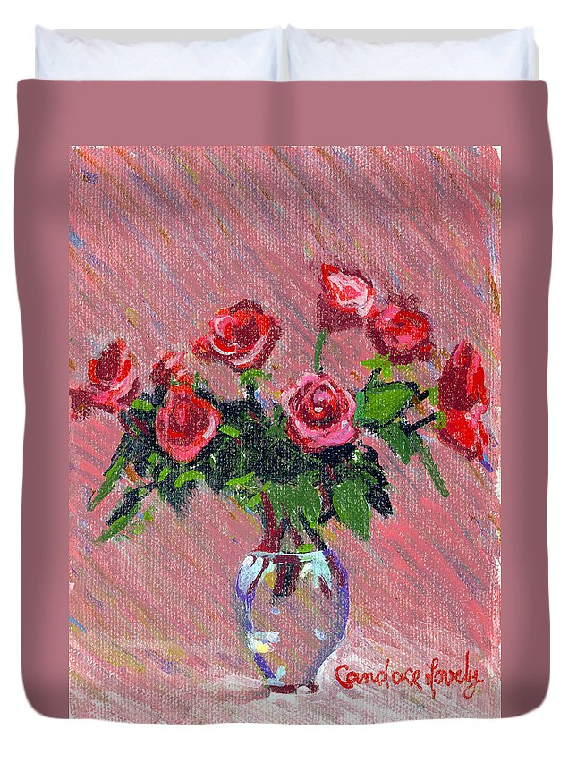 Red Roses On Pink Duvet Cover featuring the painting Roses On Pink by Candace Lovely