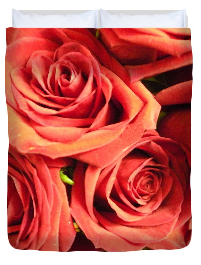 Wall Duvet Cover featuring the photograph Roses On Your Wall by Joseph Baril
