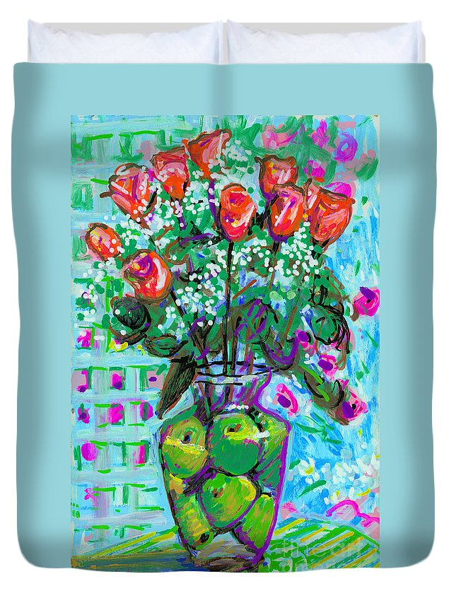 Rose Duvet Cover featuring the painting Roses With Apples by Candace Lovely