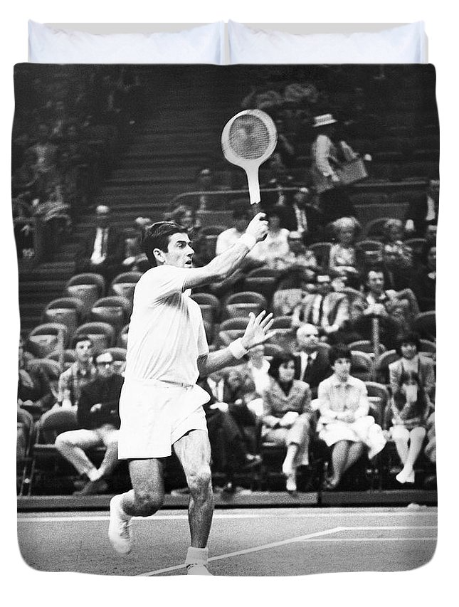 1960s Duvet Cover featuring the photograph Rosewall Playing Tennis by Underwood Archives