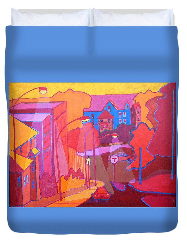 Cityscape Duvet Cover featuring the painting Roslindale Never Looked so Red by Debra Bretton Robinson