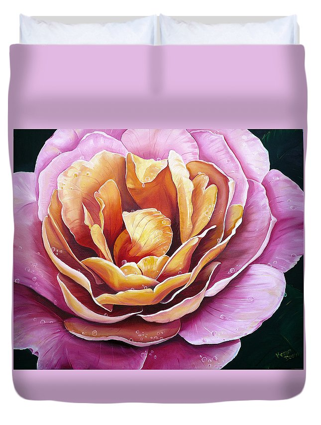Rose Painting Pink Yellow Floral Painting Flower Bloom Botanical Painting Botanical Painting Duvet Cover featuring the painting Rosy Dew by Karin Dawn Kelshall- Best