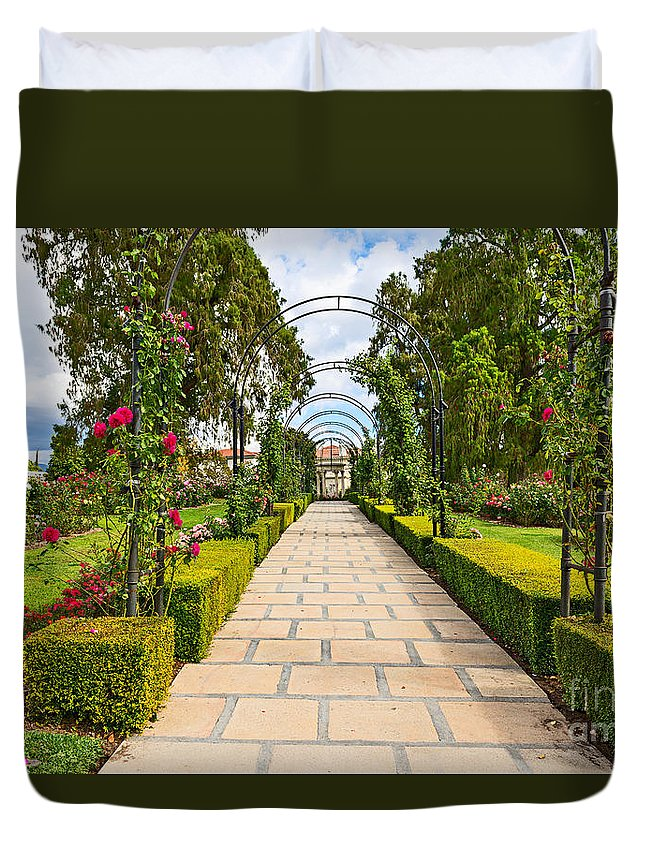 Rose Garden Duvet Cover featuring the photograph Rosy Path by Jamie Pham