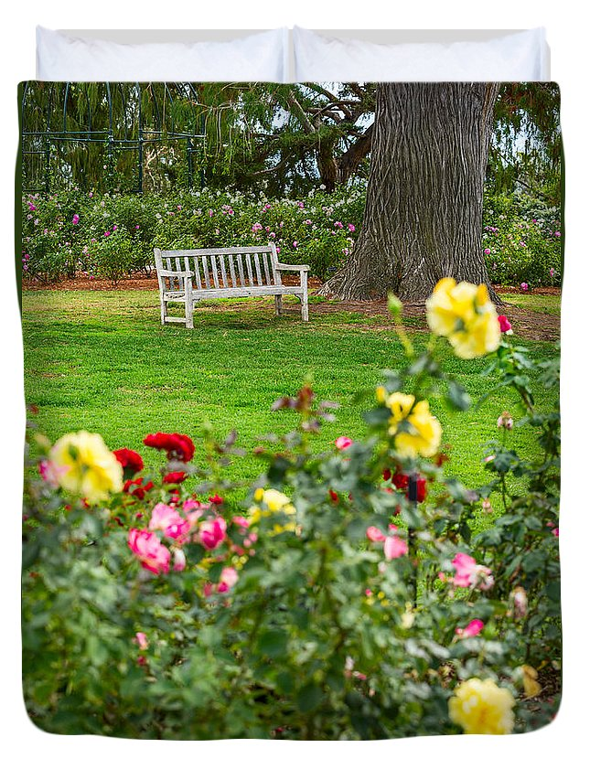 Rose Garden Duvet Cover featuring the photograph Rosy View - Beautiful Rose Garden Of The Huntington Library. by Jamie Pham