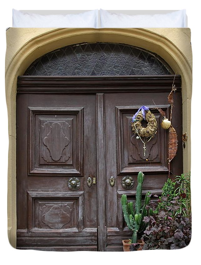Village Duvet Cover featuring the photograph Rothenburg Ob Der Tauber Door by Christiane Schulze Art And Photography